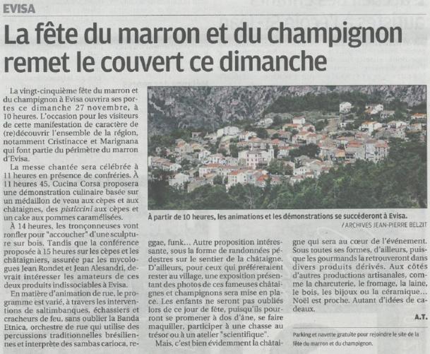 25 ème Foire du marron et du champignon à Evisa le 27 novembre 2016!