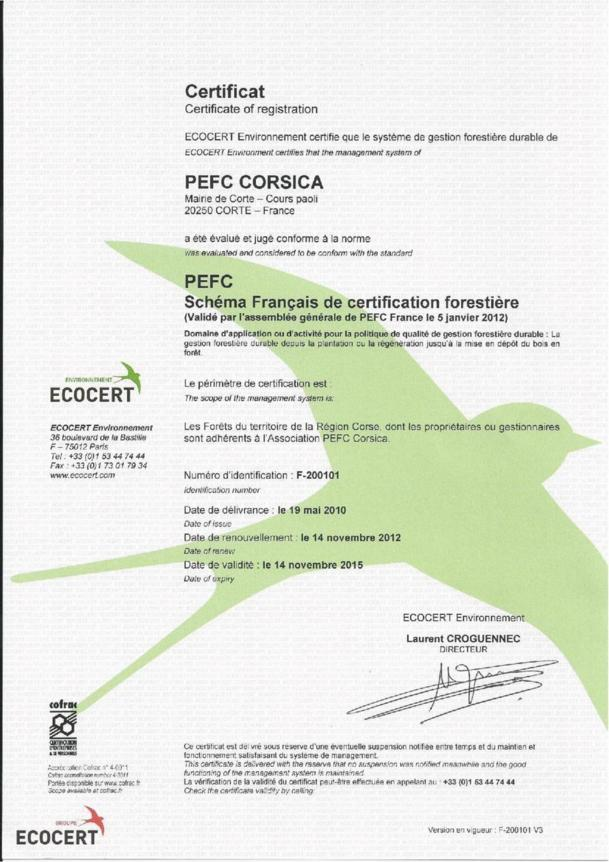 PEFC Corsica voit son certificat renouvelé en 2012