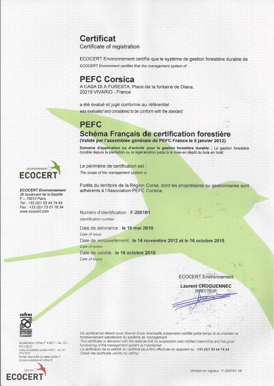 Audit de renouvellement 2015 réussi pour PEFC Corsica !
