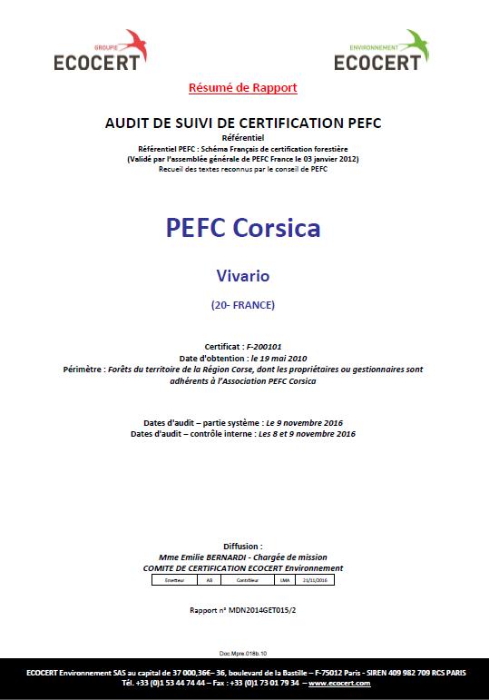 Audit de suivi 2016 réussi pour PEFC Corsica !