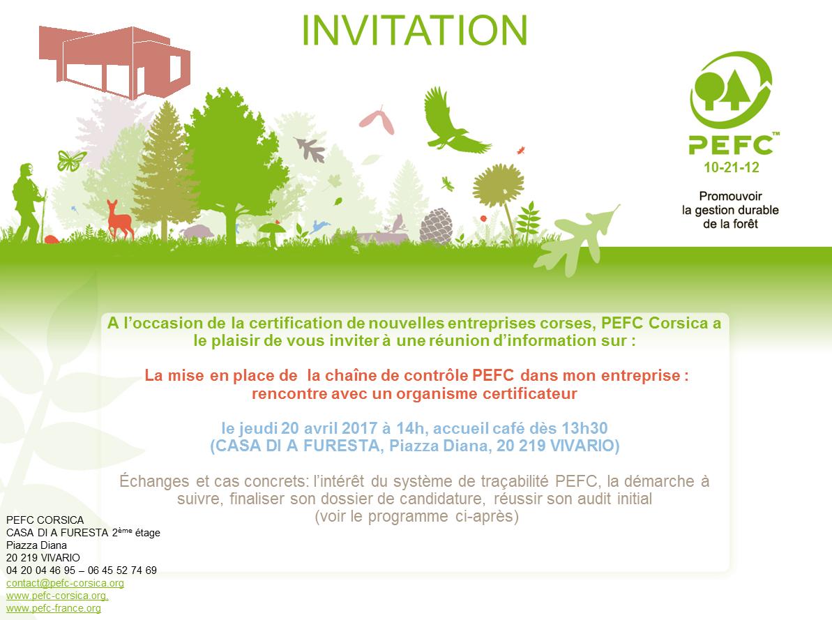 Réunion d'information PEFC le 20 avril 2017 sur la mise en place de  la chaîne de contrôle PEFC dans son entreprise : rencontre avec un organisme certificateur