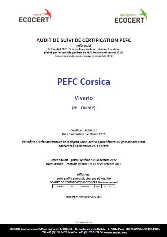 Audit de suivi 2017 réussi pour PEFC Corsica !