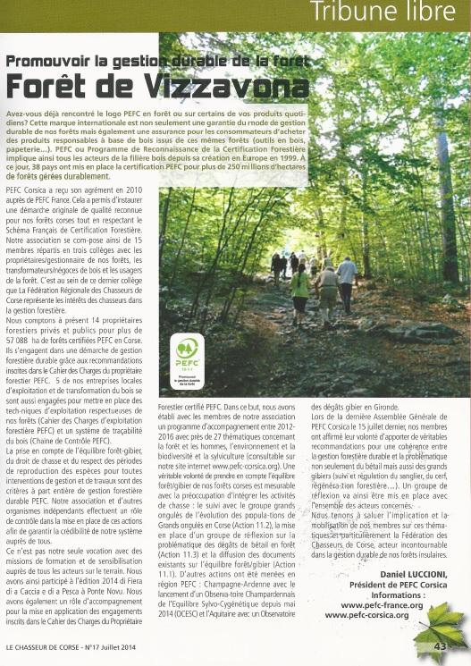 """Article PEFC """"Promouvoir la gestion durable de la forêt de Vizzavona"""""""