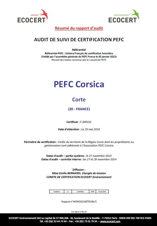 Audit de suivi 2014 réussi pour PEFC Corsica !
