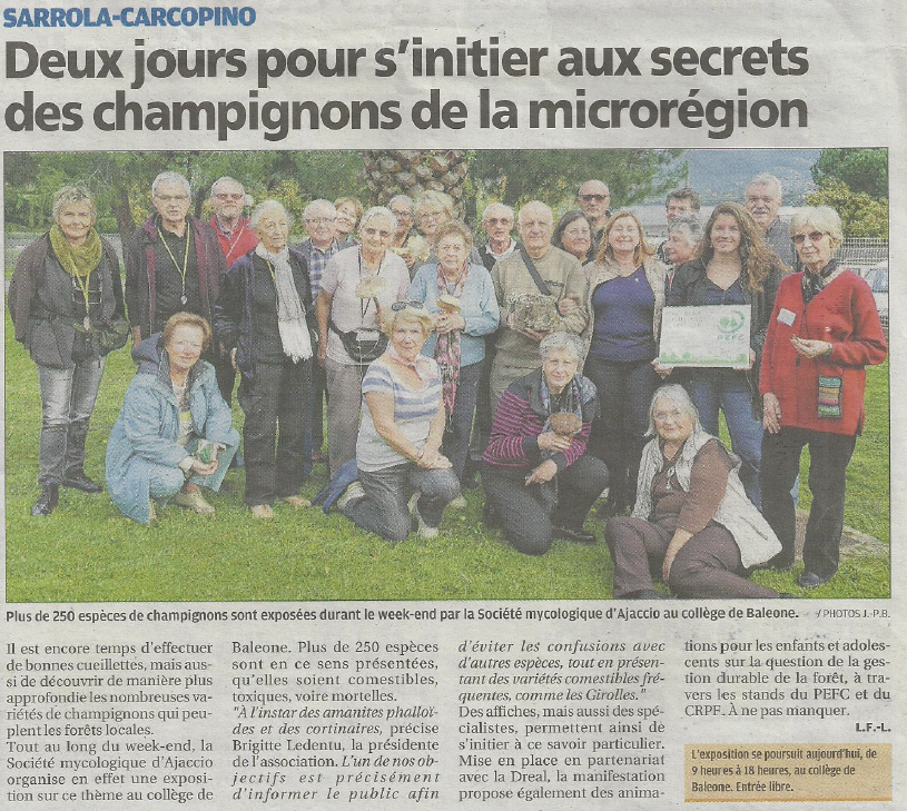 Retour sur l'exposition de champignons par la Société Mycologique d'Ajaccio le 5 et 6 décembre 2015!