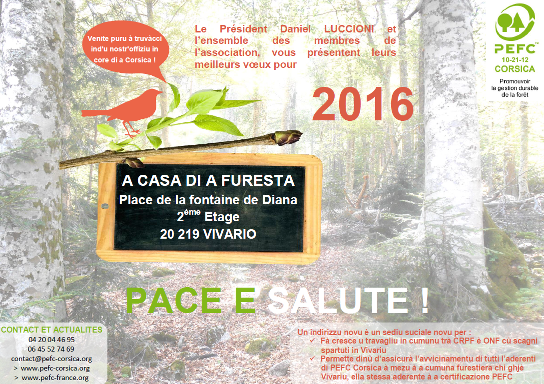 Meilleurs voeux 2016 Pace è Salute !